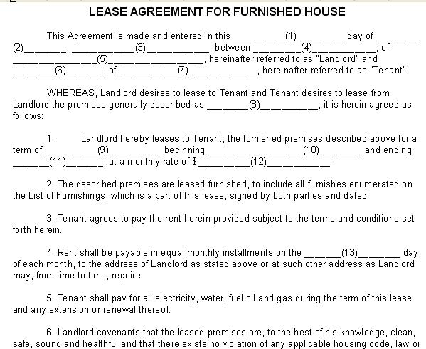 Lease / Rental Agreement Sample - Form for Furnished House