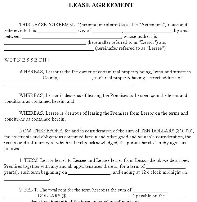 Lease / Rental Agreement Form Sample